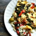 This easy Mediterranean fish dinner takes less than 20 minutes to make and can easily be made with ingredients you probably have on hand. Perfect over rice. Try this easy, healthy and tasty fish dinner tonight!