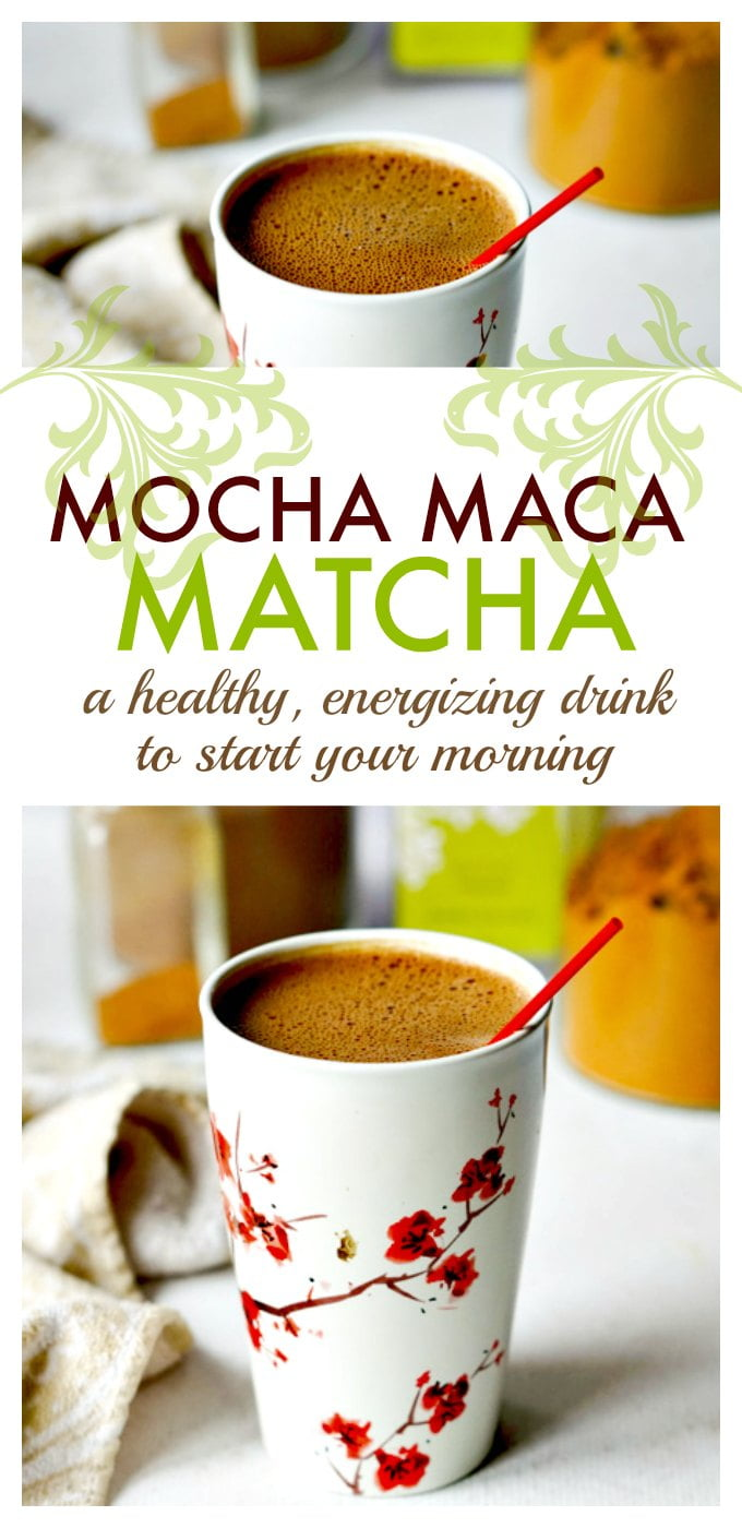This mocha maca matcha it the perfect healthy pick me up drink to start your morning. It's full of healthy and energizing ingredients and you can make it in minutes.