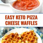 white plate with keto pizza chaffle and a bowl of sauce with text