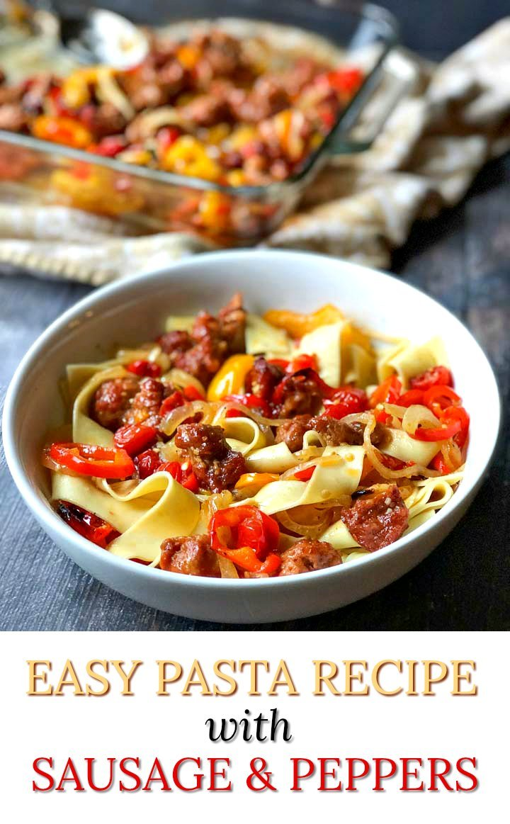 white bowl with pasta with sausage & peppers with text