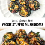white plates with vegetable stuffed mushrooms and text