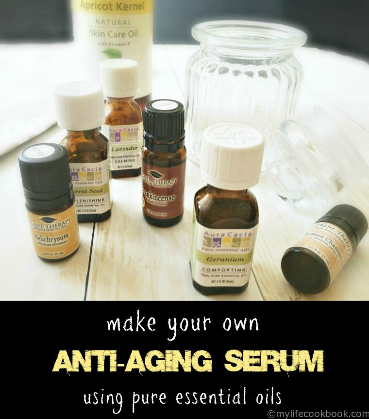 Make your own anti-aging serum using pure essential oils.