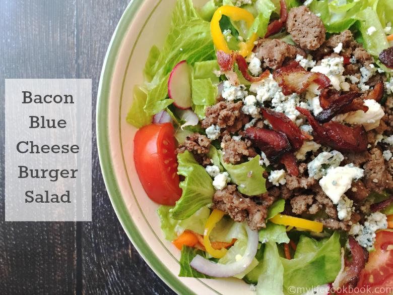 Low carb bacon blue cheese burger salad for when you're craving a burger but not the carbs. Even if you aren't counting carbs, this burger salad is yum!