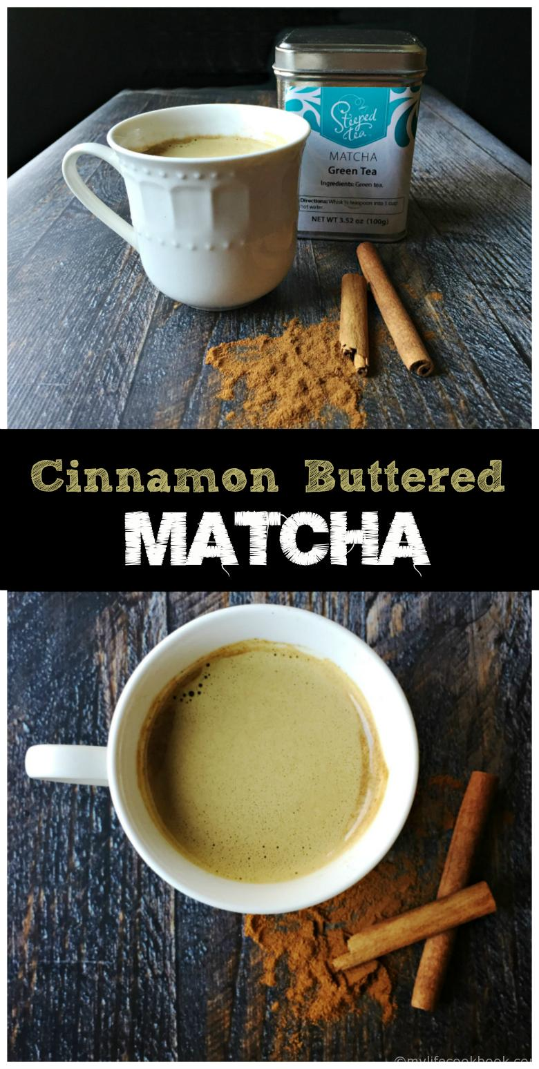 This hot cinnamon buttered matcha has the buttery, cinnamon goodness of a piece of buttered cinnamon toast. Matcha tea has great health benefits and tastes great in this warming drink.