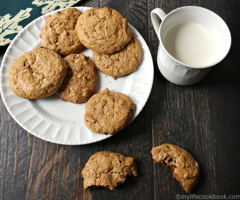 white plate with grain free chocolate chip cookies and a glass of milk
