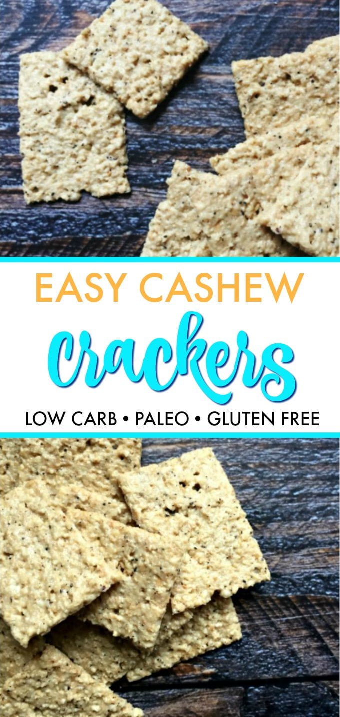 cashew crackers scattered with text overlay