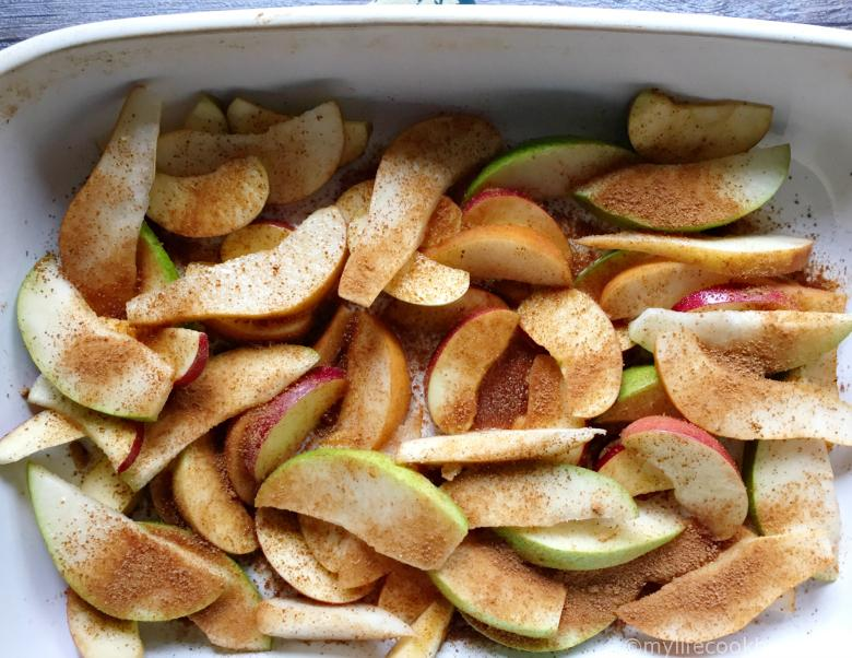 These roasted apples and pears make for an easy and delicious dessert that you can bake while eating dinner. Eat as is or top with ice cream.