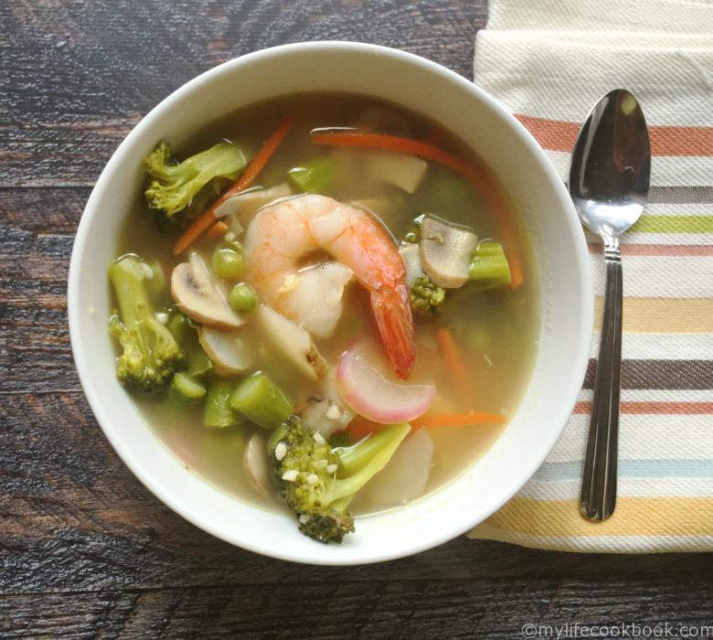 Spring vegetable soup shrimp lemongrass ginger garlic