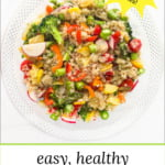 glass bowl and white plate with lemon quinoa salad and text