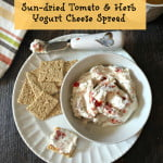 This sun dried tomato and herb yogurt cheese spread is less that 1 point on WW. Lots of flavor with few calories.
