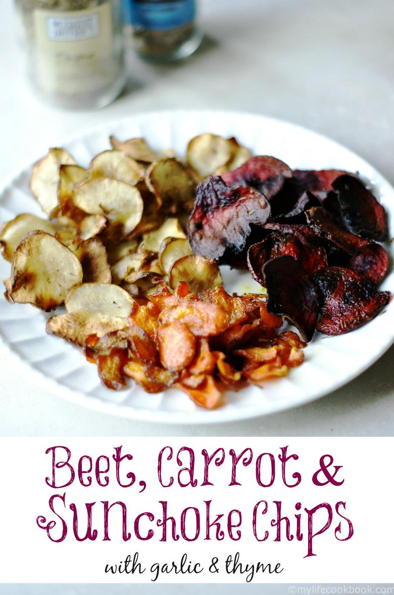 Beets, carrots and sunchoke chips with garlic and thyme seasonings. Simple, healthy and delicious!