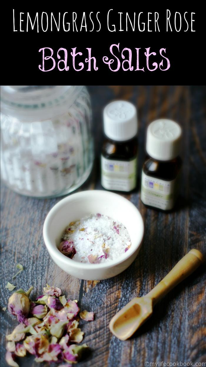 lemongrass ginger rose bath salts essential oils