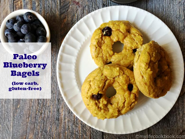 These Paleo blueberry bagels are both low carb and gluten free. A healthy alternative to bread. Very filling with only 3.5g carbs & 7.3g protein.