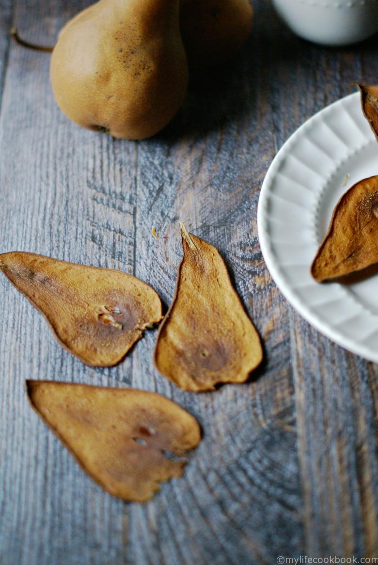 These pear chips are simple to make and very sweet with no added sugar. Just pears. Great healthy snack.