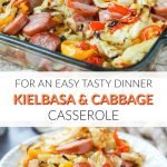 baking dish and white plate with kielbasa & cabbage casserole with text