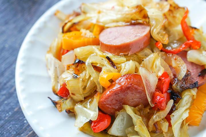 closeup  of kielbasa and cabbage recipe