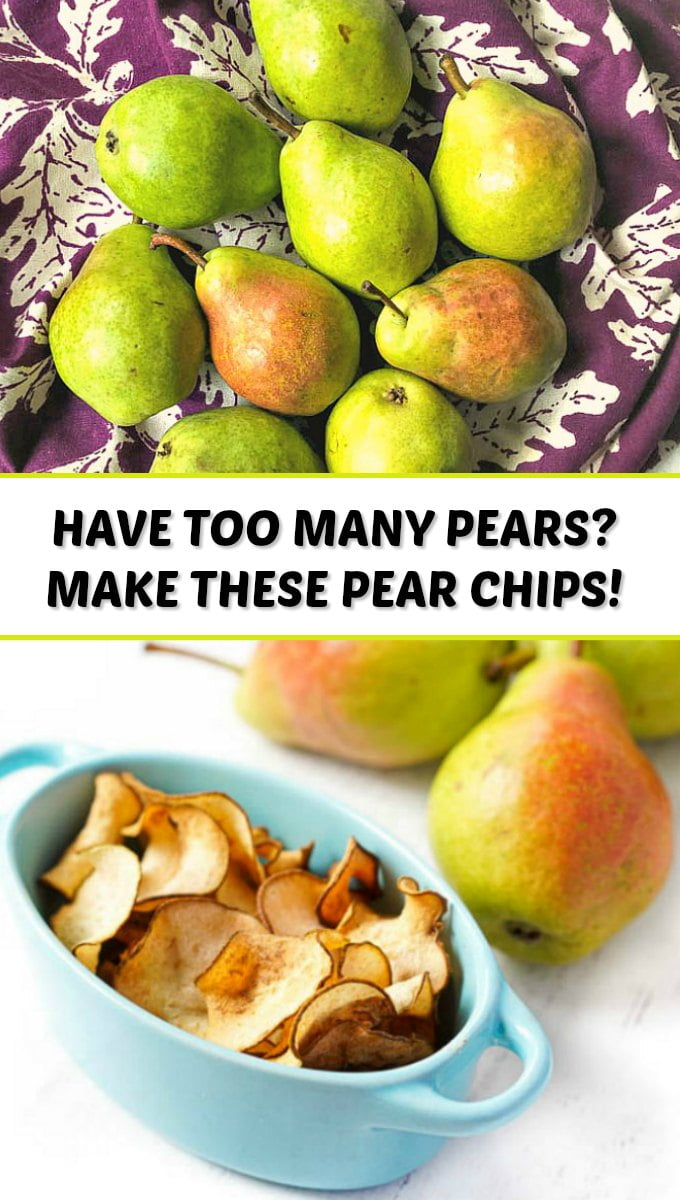 fresh pears and blue dish with pear chips and text overlay