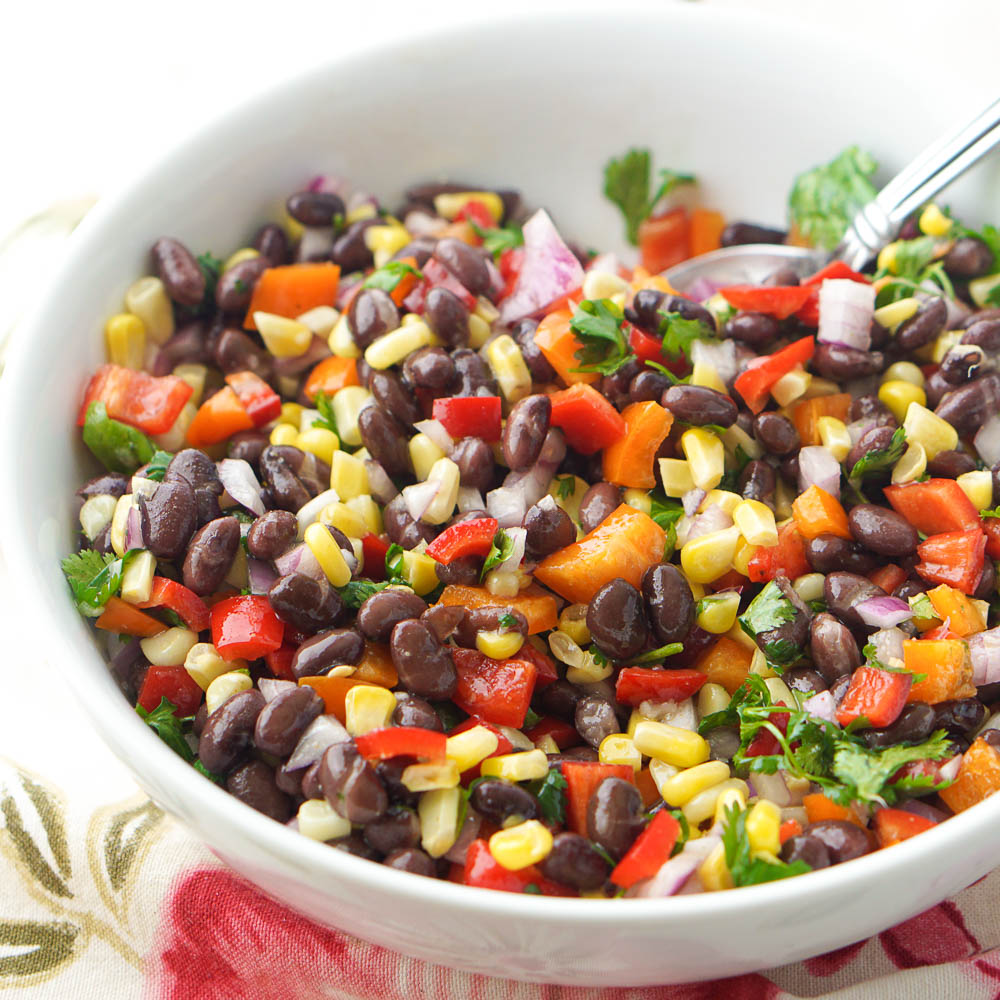 white bowl with Mexican bean salad