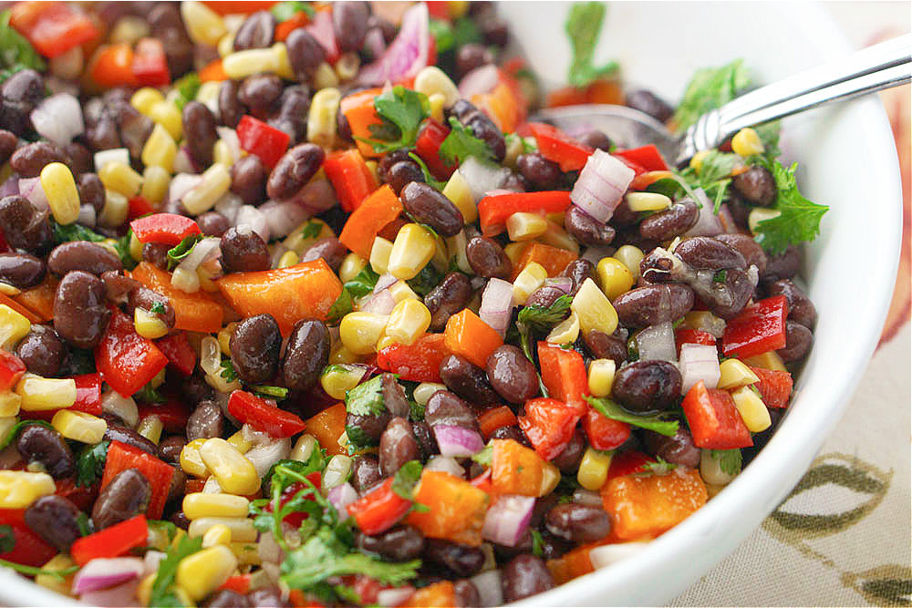 closeup of Mexican black bean salad with corn