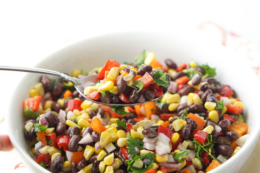 spoonful of chopped Mexican picnic salad