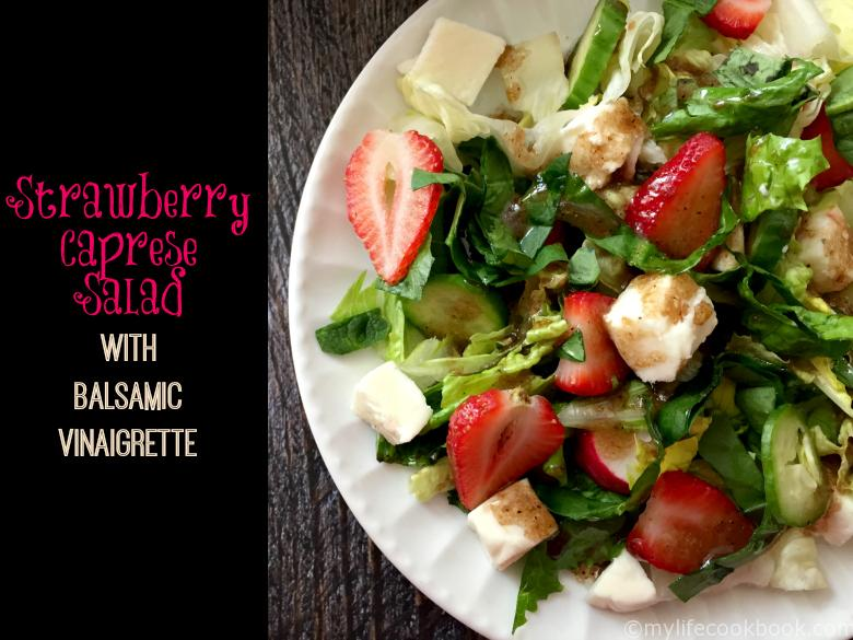 If you like caprese pizza you'll love this caprese salad using strawberries instead of tomatoes. Topped with a delicious balsamic vinaigrette.