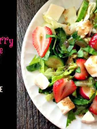 If you like caprese pizza you'll love this strawberry caprese salad with balsamic vinaigrette. Strawberries area delicious substitution for tomatoes in this tasty salad.