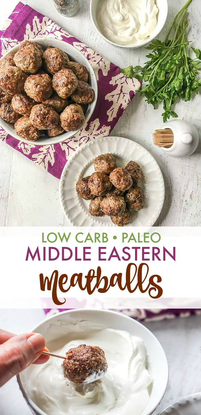 Long photo fo a white plate of meatballs and a bowl of meatballs with parsley and yogurt and text overlay.