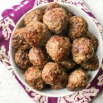 Close-up of a bowl of meatballs with a bowl of meatballs.