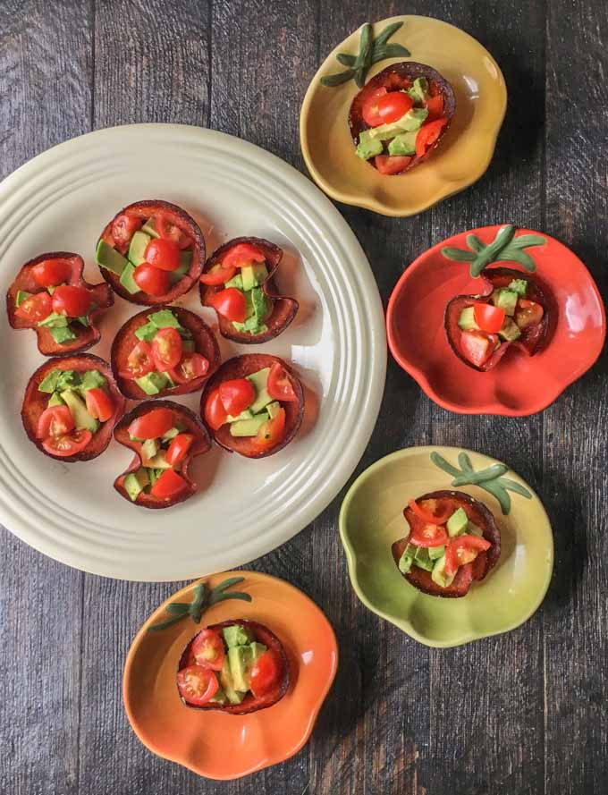 These tomato, avocado and salami bites are the perfect low carb and Paleo snack. Also would make a great low carb appetizer. They are so easy to make and each one has only 0.9g net carbs.