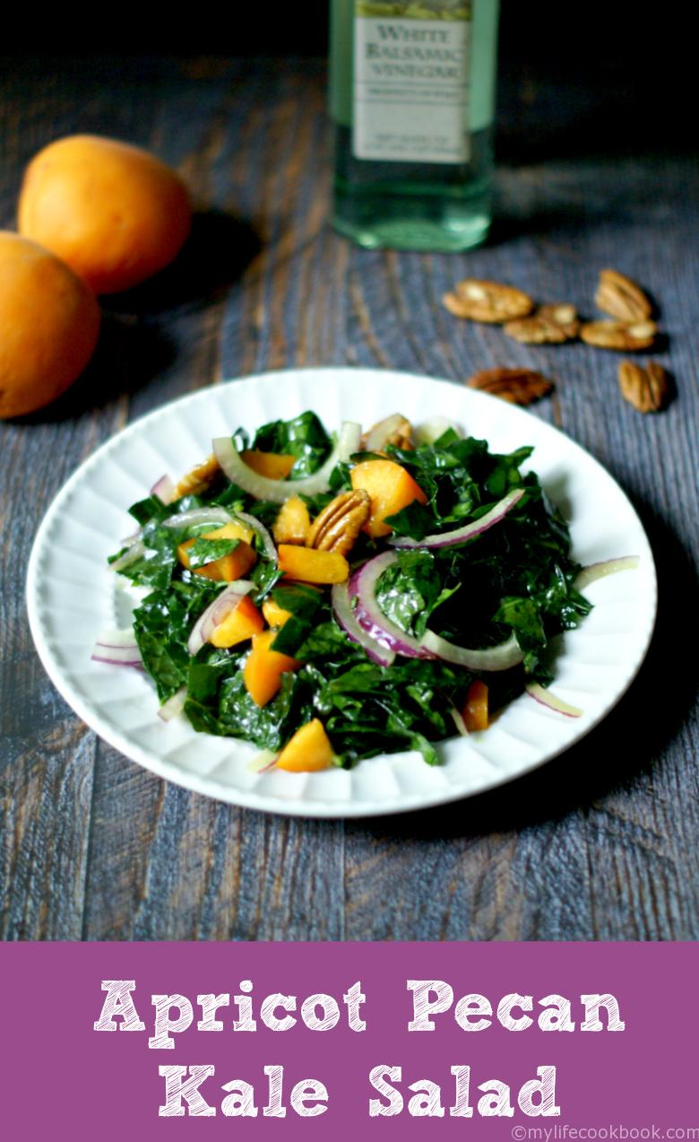 This is a great way to use that kale from your garden with the sweet tangy apricots and crunchy pecans all tossed with a  sweet & sour dressing.