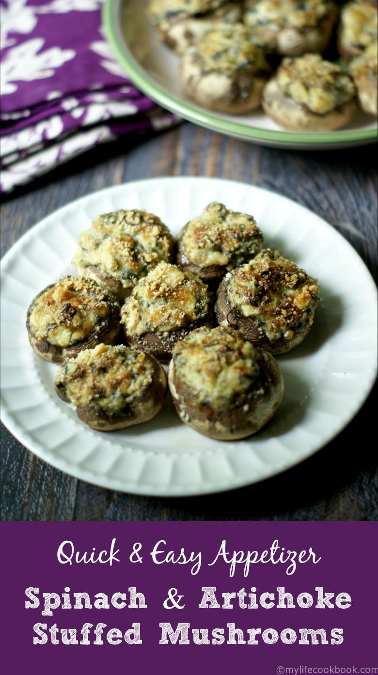 This is the easiest and tastiest appetizer to make, Spinach & Artichoke Stuffed Mushrooms