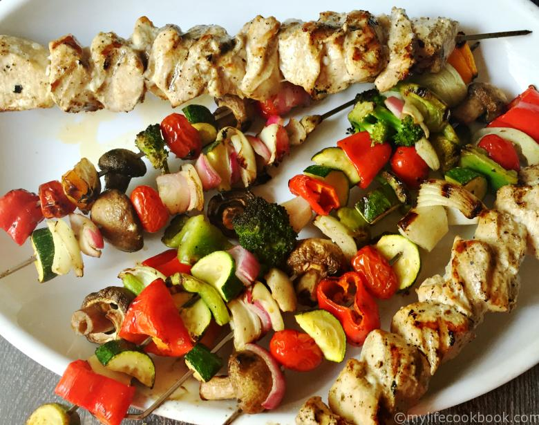 Greek Grilled Chicken & Veggies is a quick and easy dinner just marinade your chicken and veggies over night and grill them the next day for a delicious healthy meal.