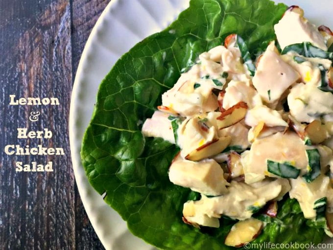 This low carb lemon & herb chicken salad uses fresh herbs, lemon and almonds for a tasty dish in minutes. Eat it on a croissant, crusty bread or lettuce for a low carb lunch.