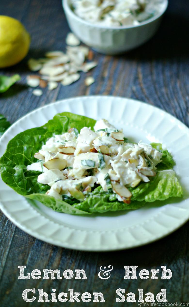 Lemon & Herb Chicken Salad with Almonds - My Life Cookbook