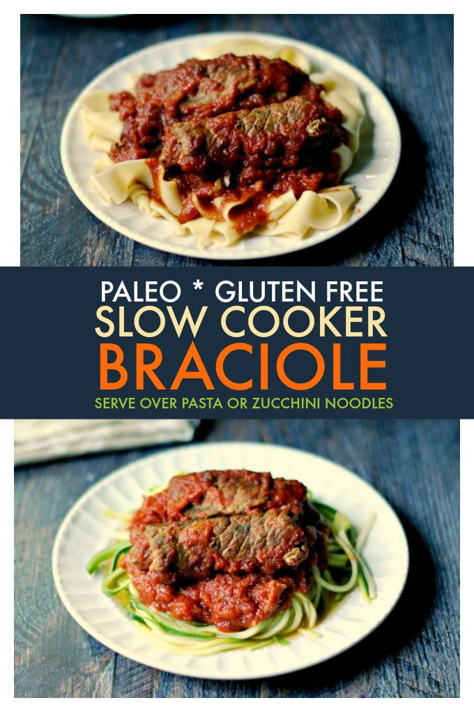 This Paleo slow cooker braciole makes an easy, tasty meal for your family. Serve over noodles for a traditional dish or over zucchini noodles for a Paleo version. This gluten free slow cooker meal is one your family will love!