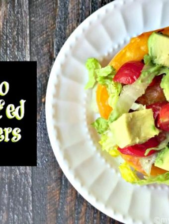 These Taco Stuffed Peppers are a tasty low carb dinner that you can make quickly and easily. Only 3.3g net carbs per serving. They will freeze well too!