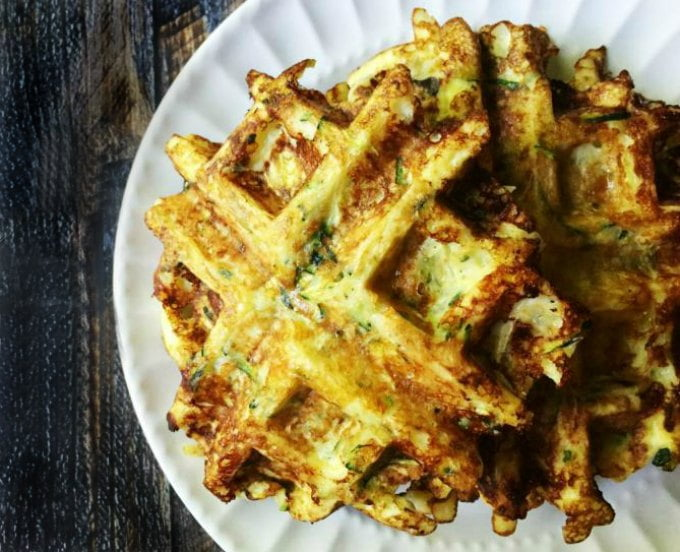 These savory zucchini waffles are gluten free and low carb. They make a great low carb breakfast or snack and you can even freeze them for later. Only 5 ingredients and 3.1g net carbs per waffle.