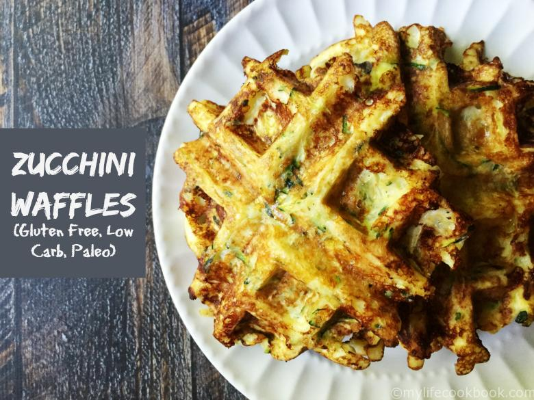 zucchini breakfast waffles on white plate - low carb, gluten free