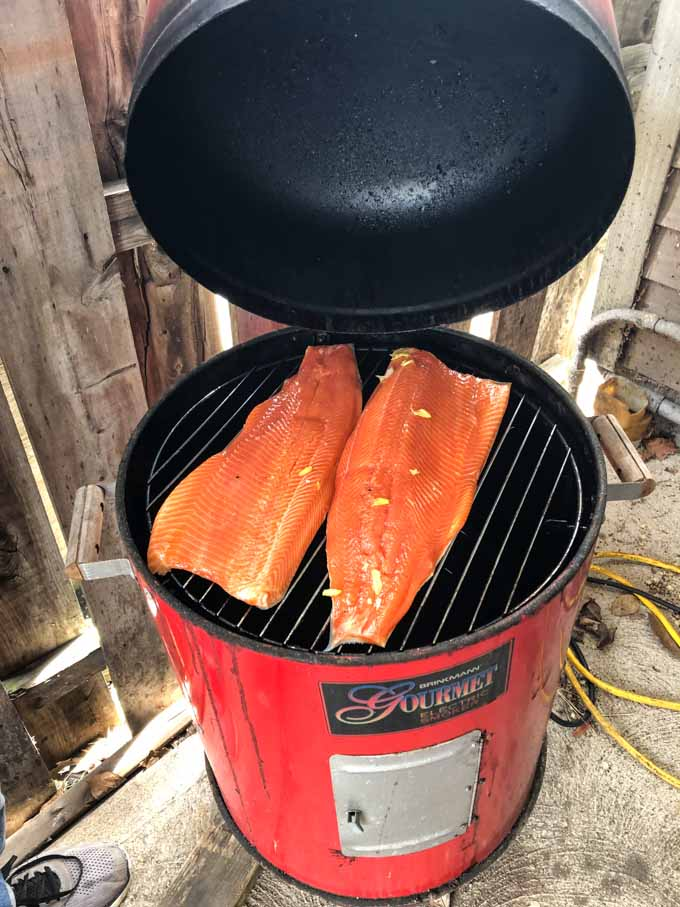 bullet smoker with a brined salmon