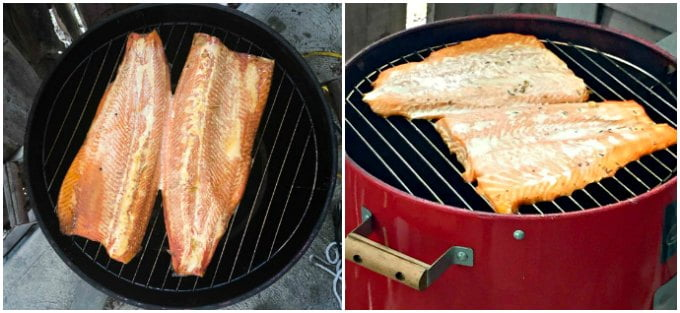 Two pictures with smoked steelhead and smoked salmon