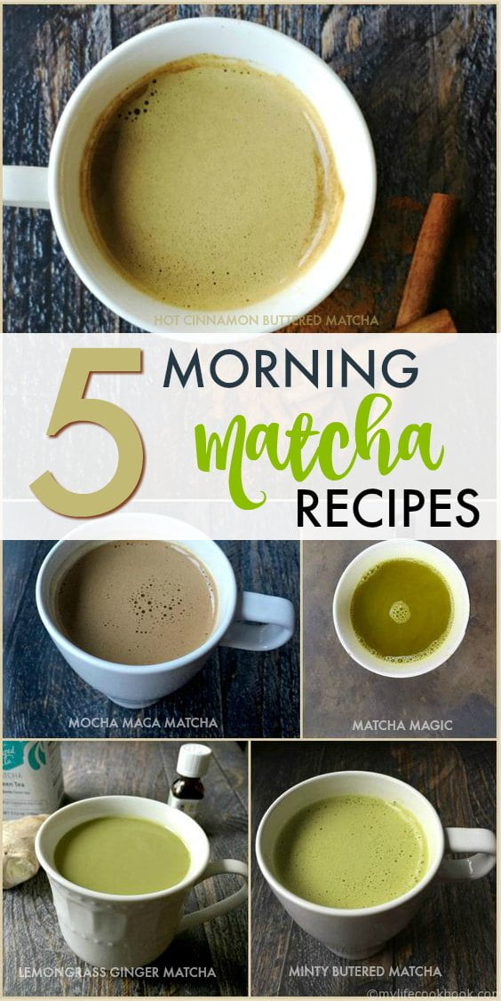 Collage of 5 matcha drinks in white cups with text overlay.