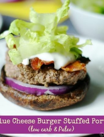 This is the perfect low carb or Paleo meal by stuffing a Portobello mushroom with the components of a bacon blue cheese burger. Delicious!