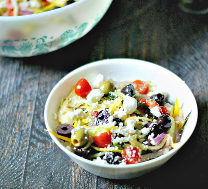 This Greek Zucchini Salad is the perfect substitute for a pasta salad when you are on a Paleo or gluten free diet. Delicious and nutritious!