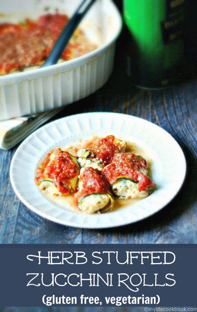 These herb stuffed zucchini rolls are much like a cheese stuffed ravioli but without the pasta. It's a delicious gluten free, vegetarian meatless meal!