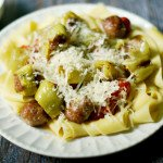 This Hot Stuffed Banana Pepper Pasta is an easy and tasty dinner. Great use of hot peppers from the garden. Sure to please!