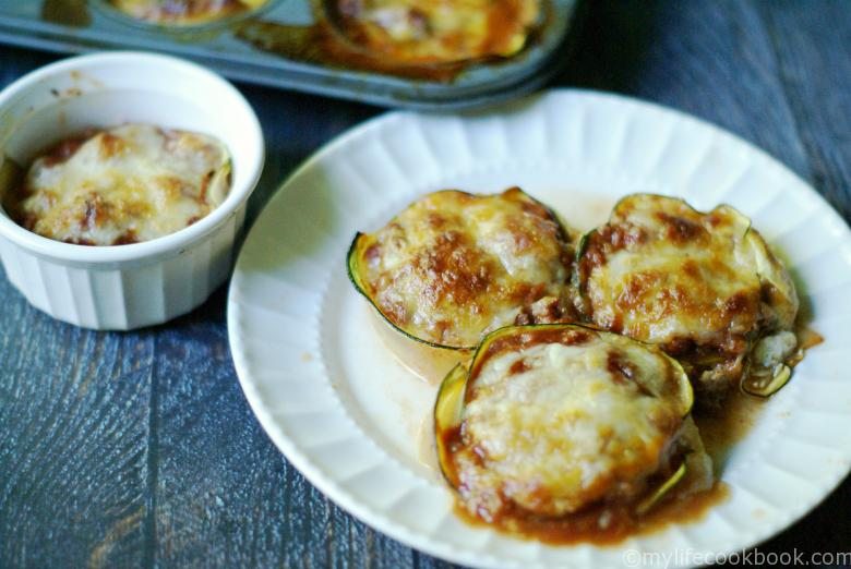 These Zucchini Lasagna Cups are a fun low carb dish that has all the taste of traditional lasagna using zucchini instead of pasta. Gluten Free.