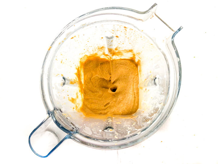 Vitamix blender container with creamy pumpkin nice cream