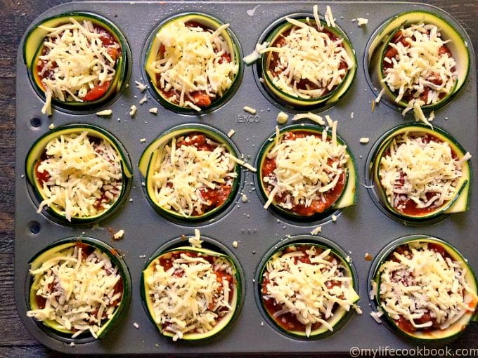 These Zucchini Lasagna Cups are a fun gluten free dish that has all the taste of traditional lasagna using zucchini instead of pasta.