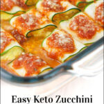 baking dish and plate with zucchini ravioli and text