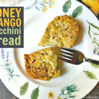 This honey mango zucchini bread is a tasty twist on a classic. Honey and mango are a great addition to this easy quick bread. Mix, bake, eat!